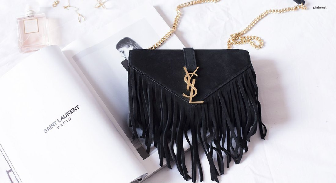 YSL Monogram Fringed Satchel